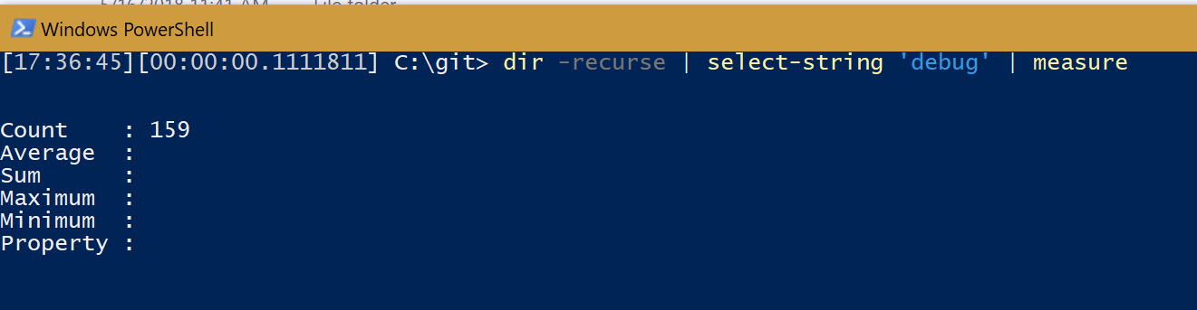A PowerShell console window running the following command. Dir c:\git -recurse | select-string 'write-debug' | measure This shows that there are over 150 uses of this command in my PowerShell modules. Uh, probably too many!